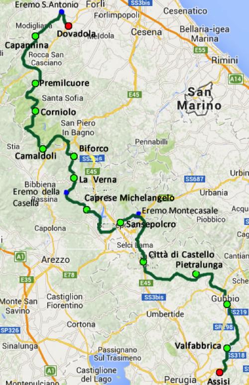 Cammino Di Assisi mappa