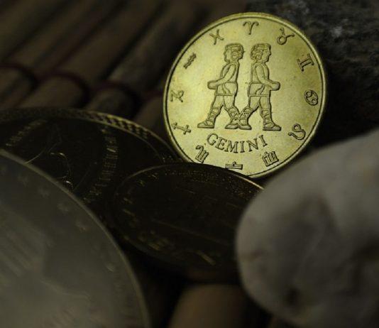 monetina che raffigura il segno zodiacale dei gemelli