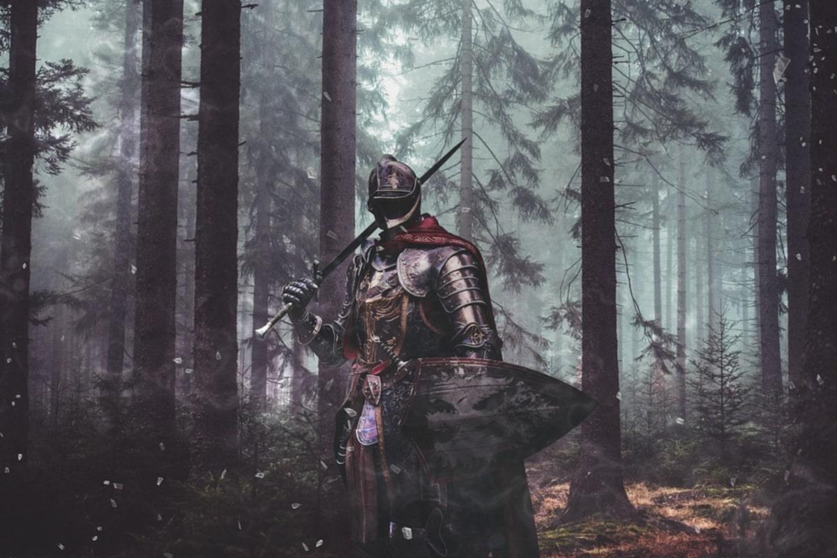 guerriero nel bosco con spada e scudo