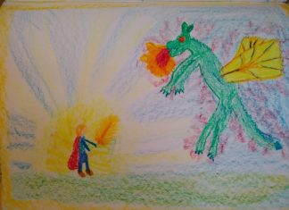 disegno di San Michele e del drago